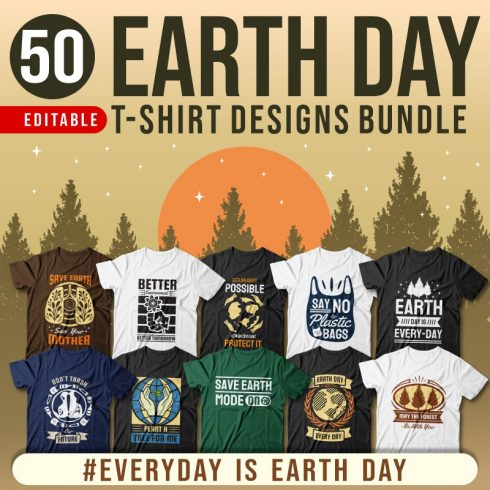Earth Day T-shirt Designs Bundle
