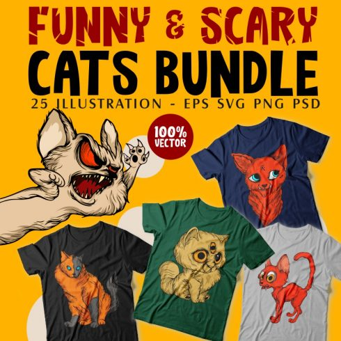 Cats T-shirt Designs Bundle