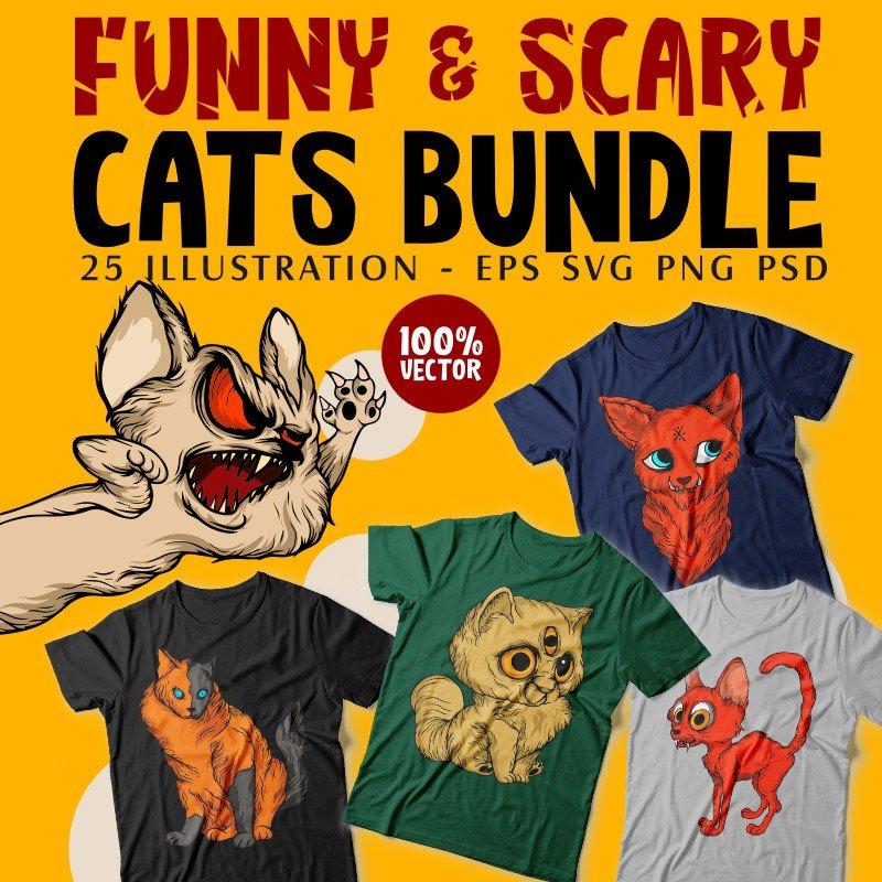 Cats T-shirt Designs Bundle