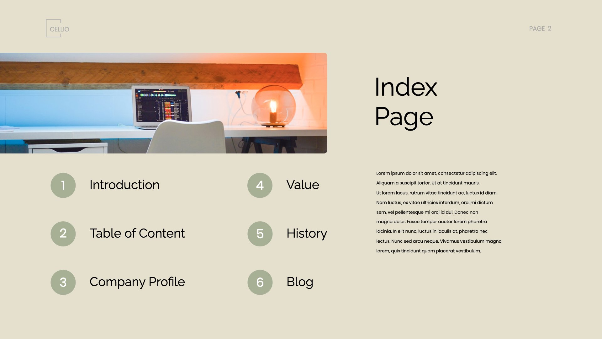 Page with buttons for organizing information and optimizing template space.