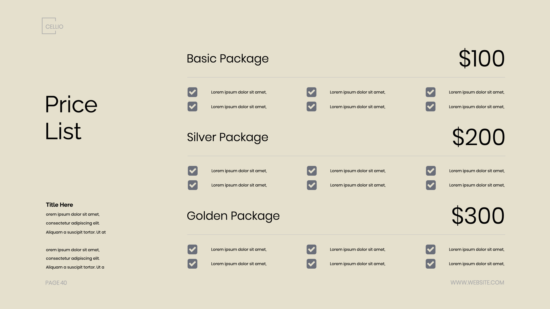 A simple and clear price list will make your service more accessible.