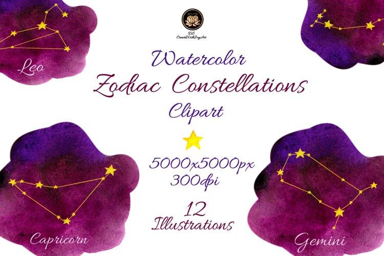 Watercolor Zodiac Constellations Clipart