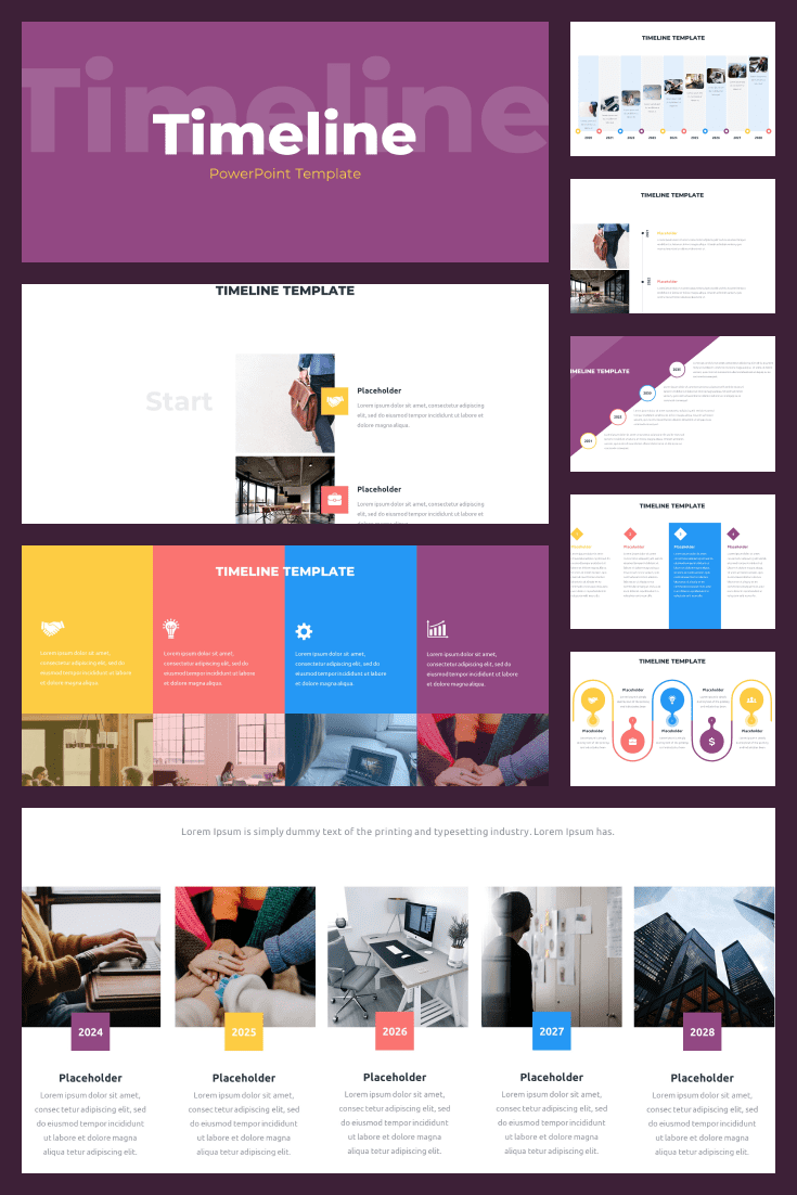36 Timeline Presentation Templates: Powerpoint, Google Slides, Keynote. Collage Image.