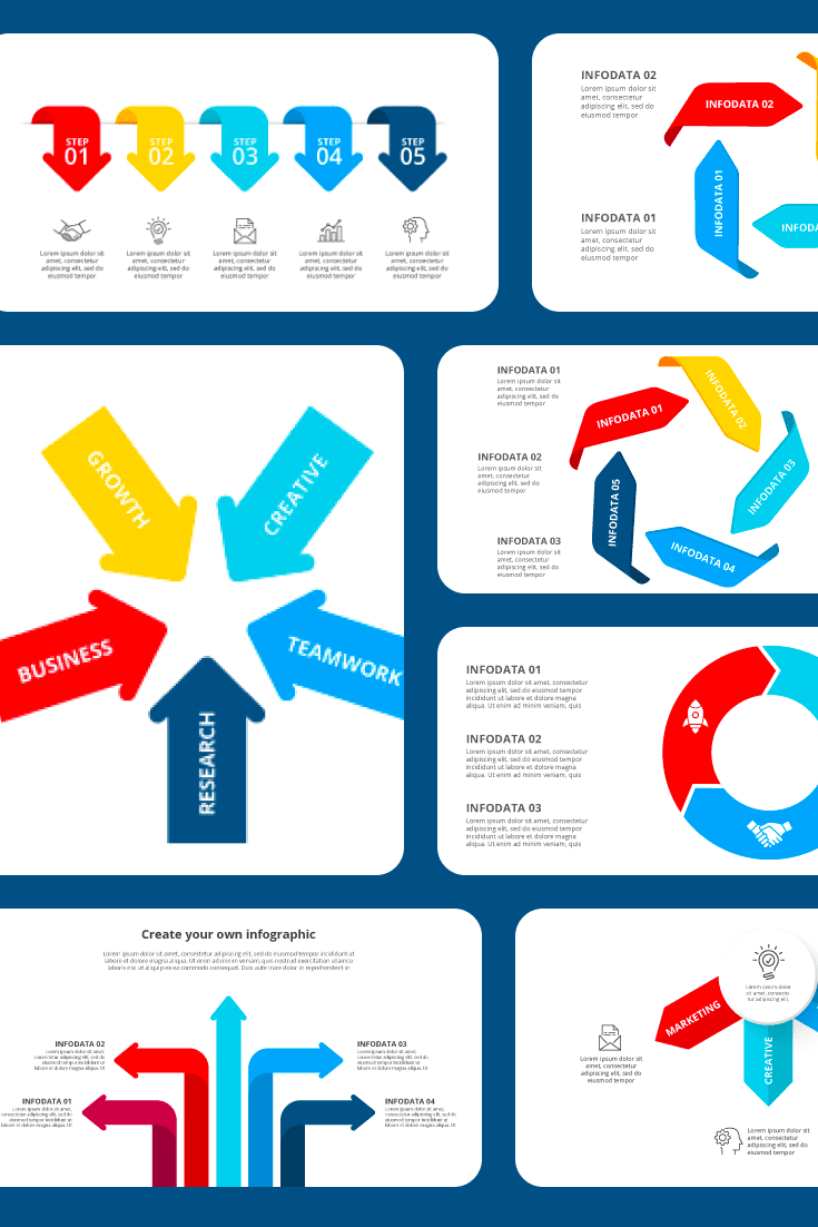 50 Arrows Clipart 2021: Arrows Powerpoint & Infographics XML, AI, PSD, EPS, KEY, PDF. Collage Image.
