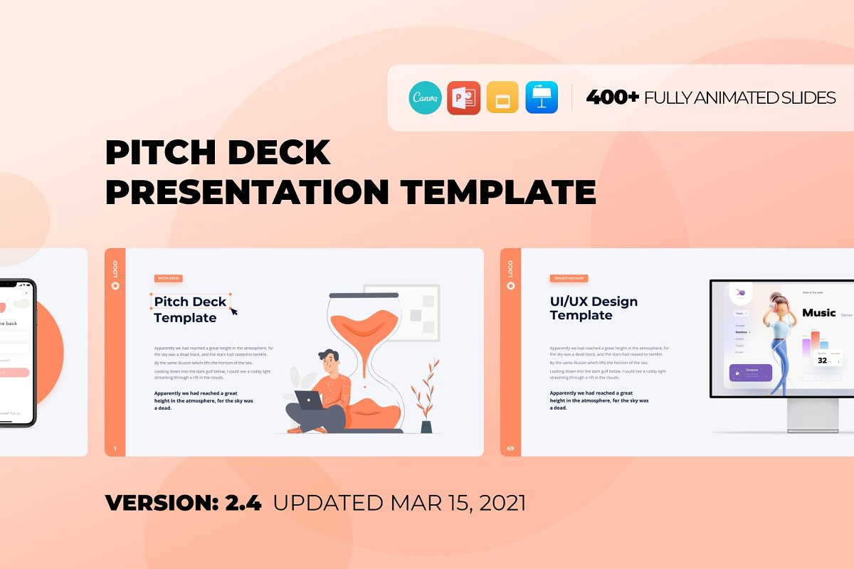 Cover for Pitch Deck & Presentation Animated Smooth Template.