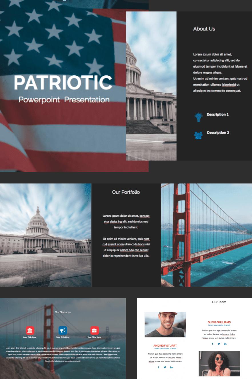 Patriotic PowerPoint Template 2021: 50 Slides + Keynote + Google Slides. Collage Image.