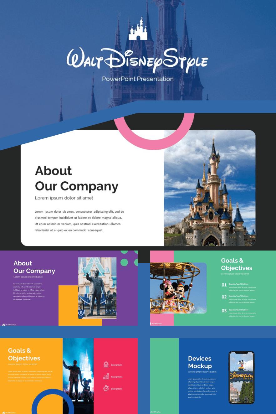 Disney Presentation 2021: Powerpoint, Google Slides & Keynote Templates: 50 Unique Slides. Collage Image.