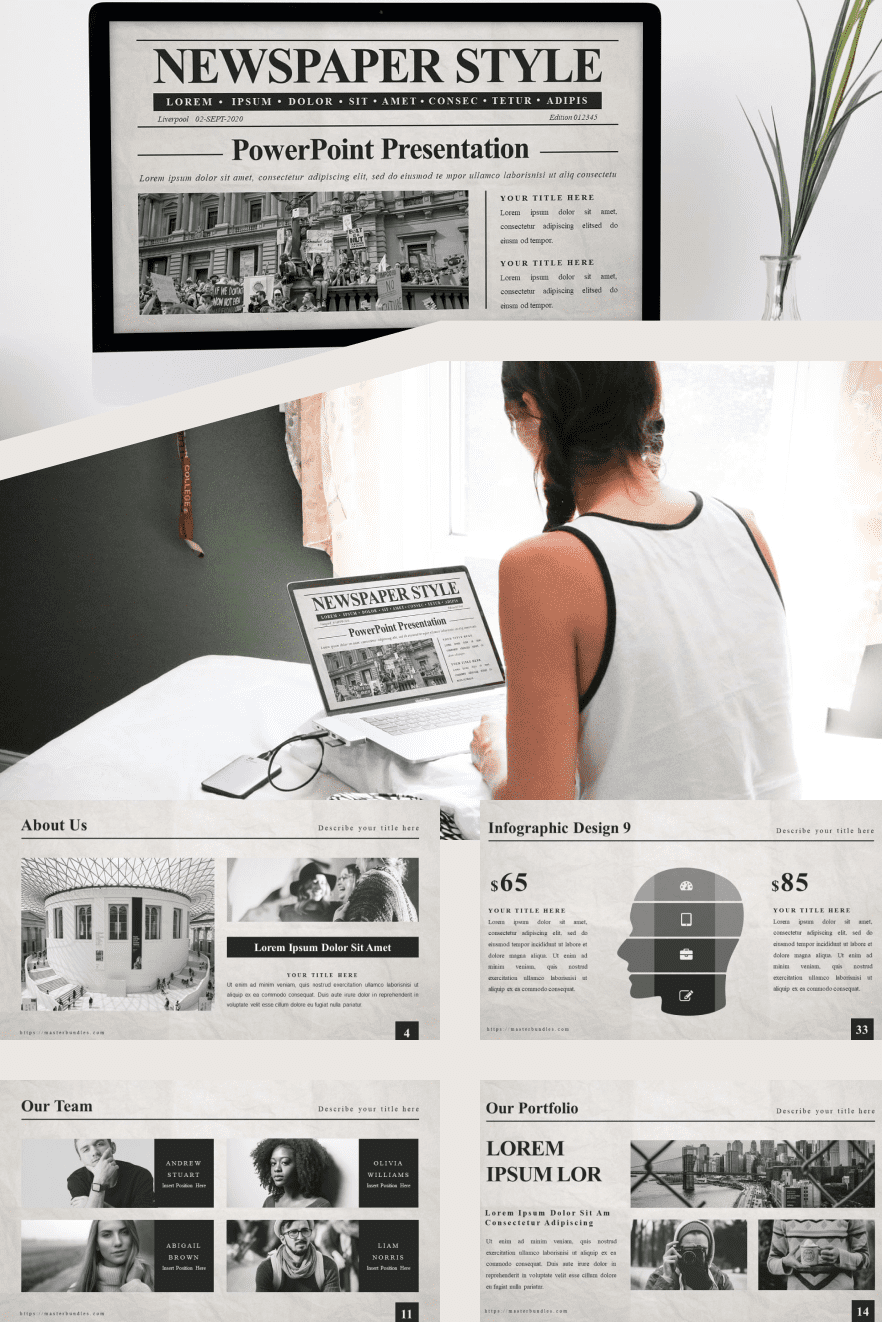 50 Slides Newspaper Templates Powerpoint 2021 + Bonus: Google Slides Newspaper Template. Collage Image.