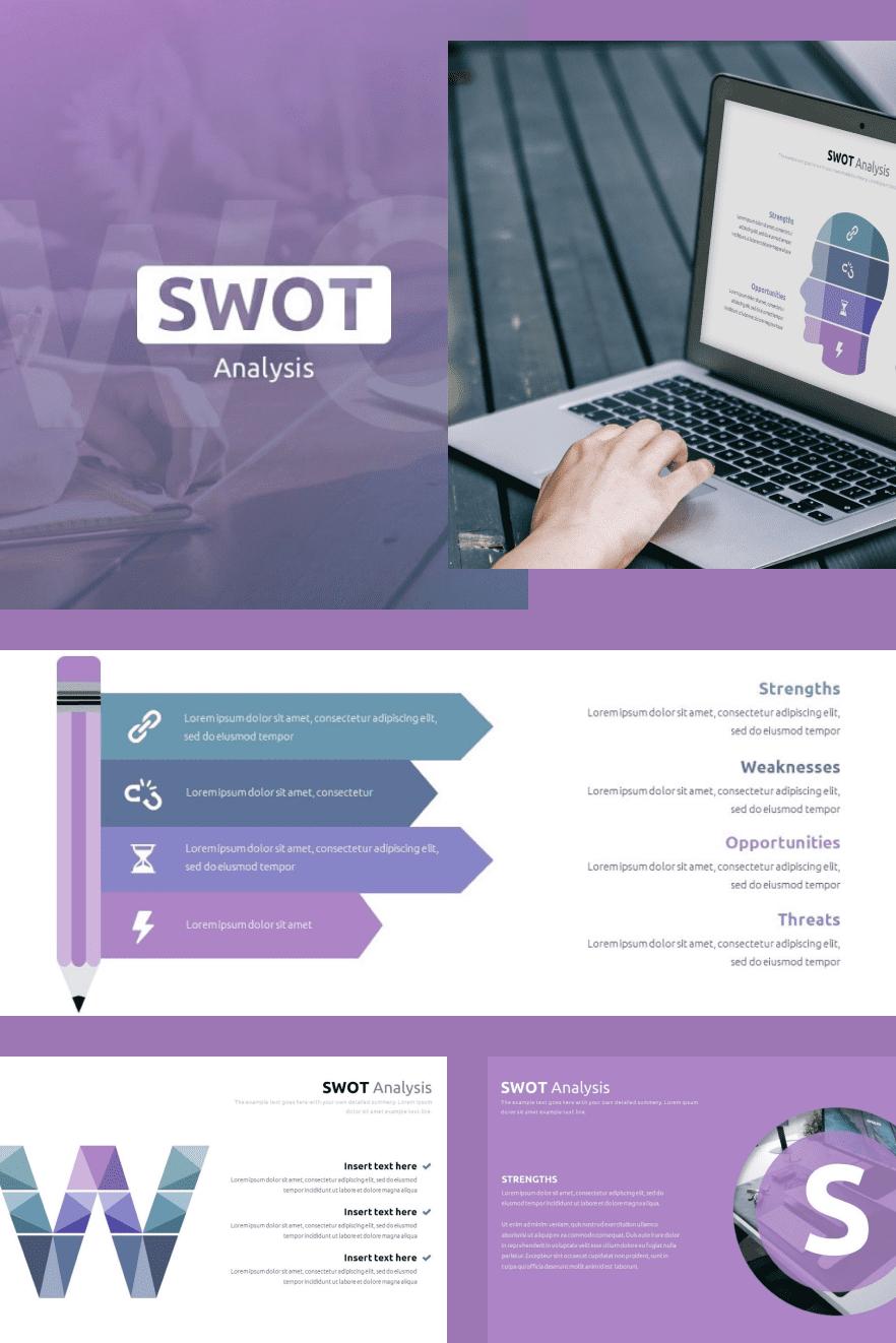 Best SWOT Analysis Template Powerpoint 2021: 40 Unique Slides & 5 Color Schemes. Collage Image.