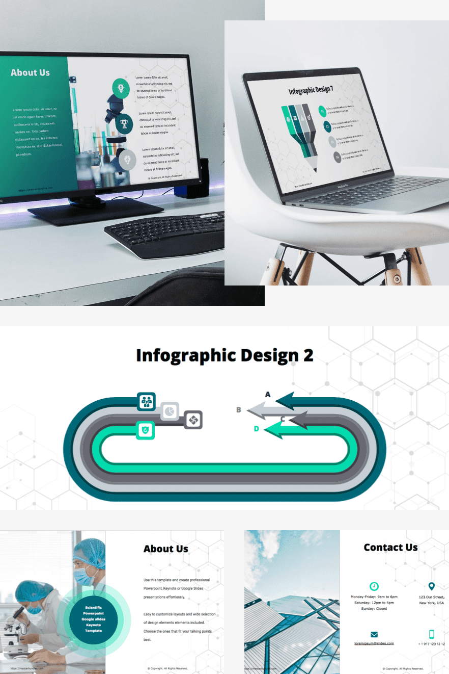 Best Science PPT Template 2021. 50 Scientific Powerpoint Slides And Google Slides & Keynote. Collage Image.