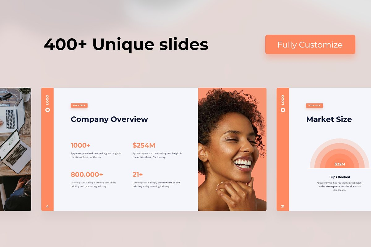 400+ Unique Slides Pitch Deck & Presentation Animated Smooth Template.