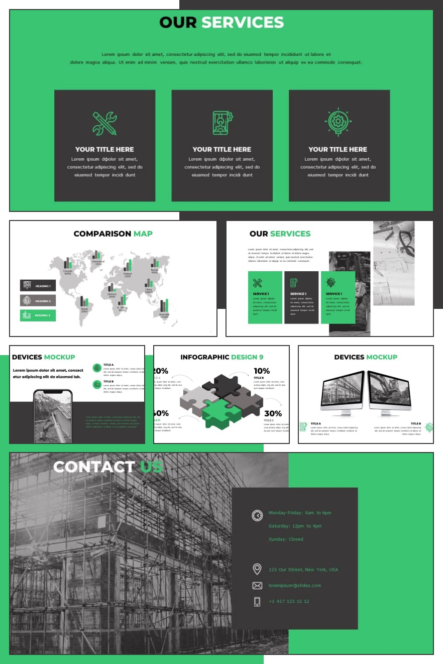 Engineering Powerpoint Template. Best 50 Unique Slides in 2021. Collage Image.
