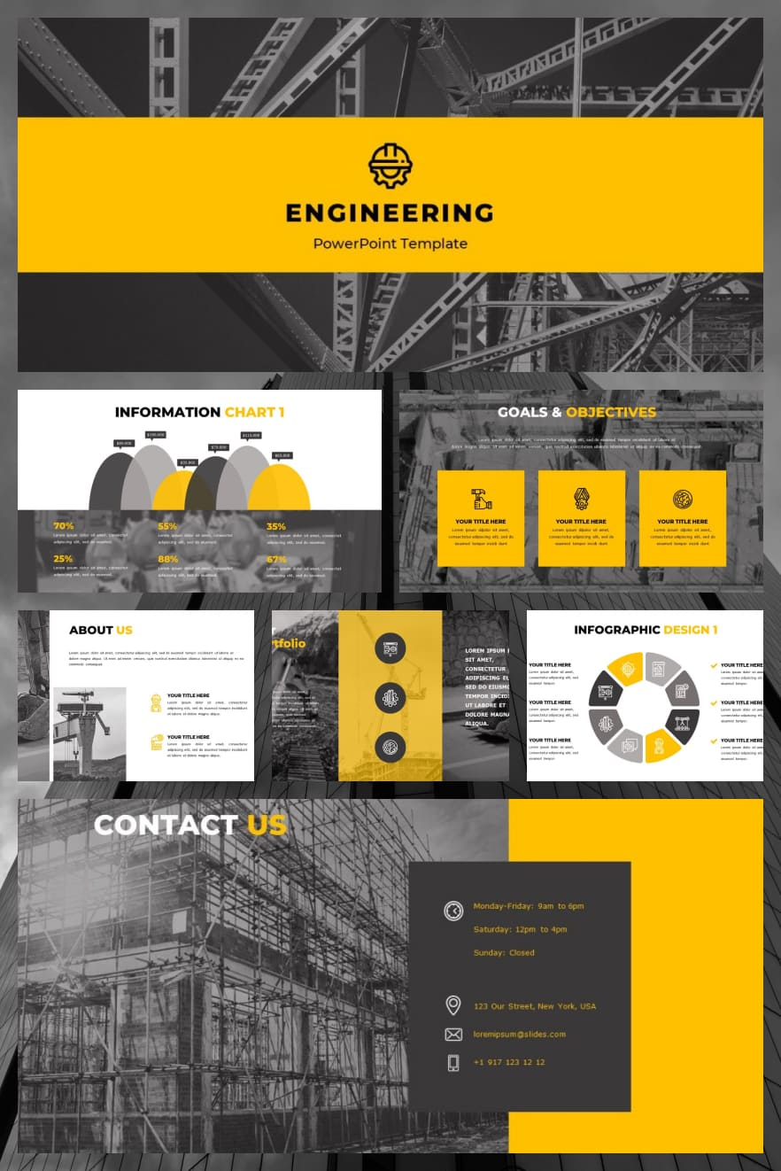 Free Engineering Powerpoint Template. Collage Image.