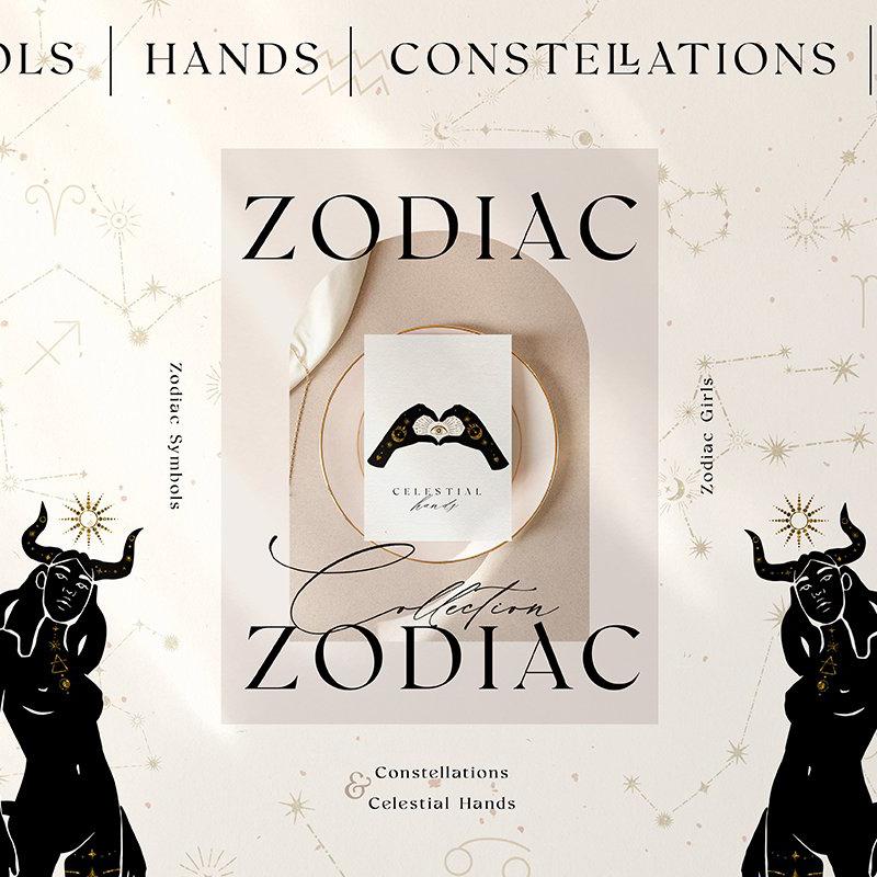 Zodiac Celestial Constellations Set