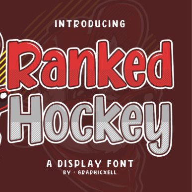 Ranked Hockey Basketball Font Example.