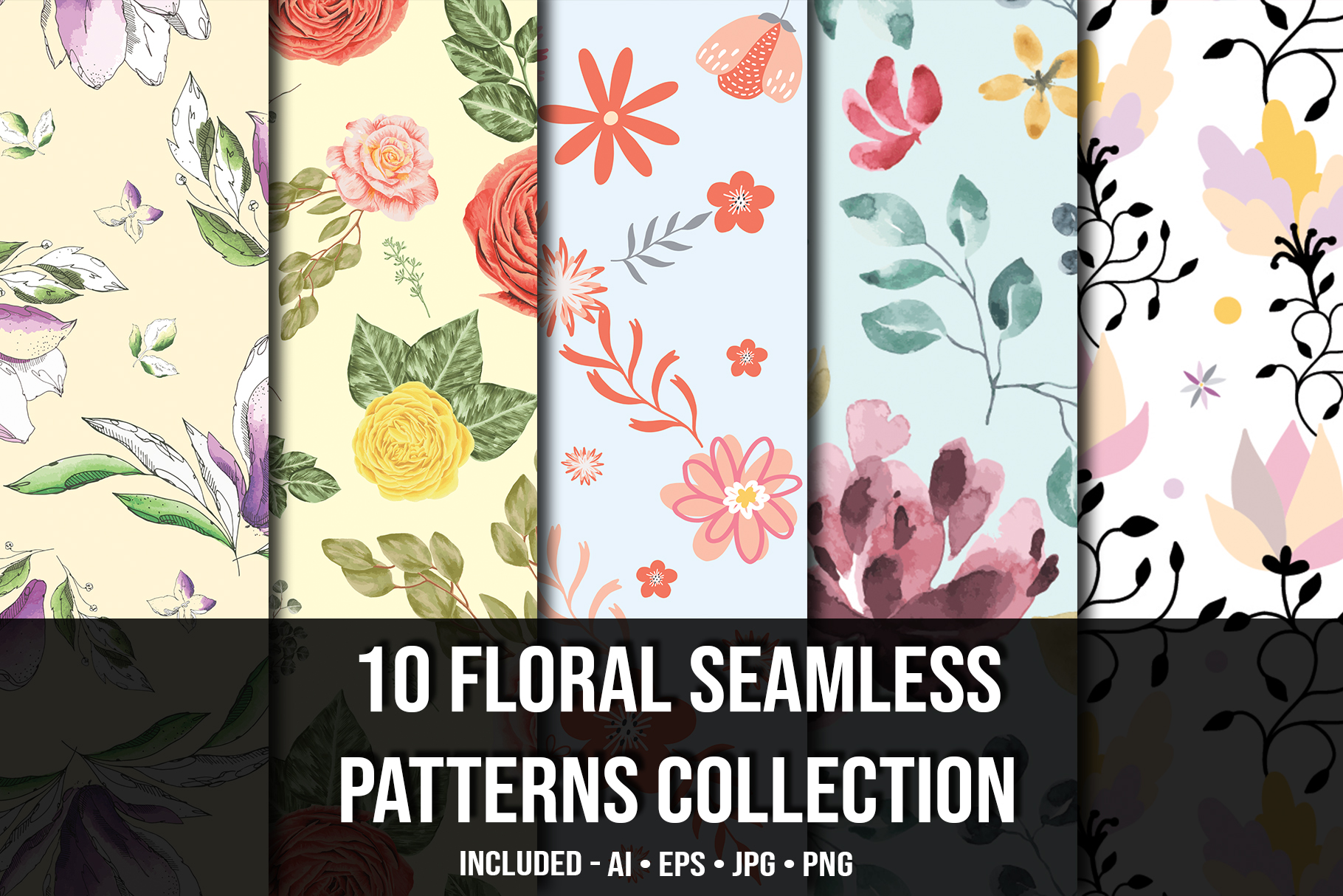 Floral seamless collection. Cover image.