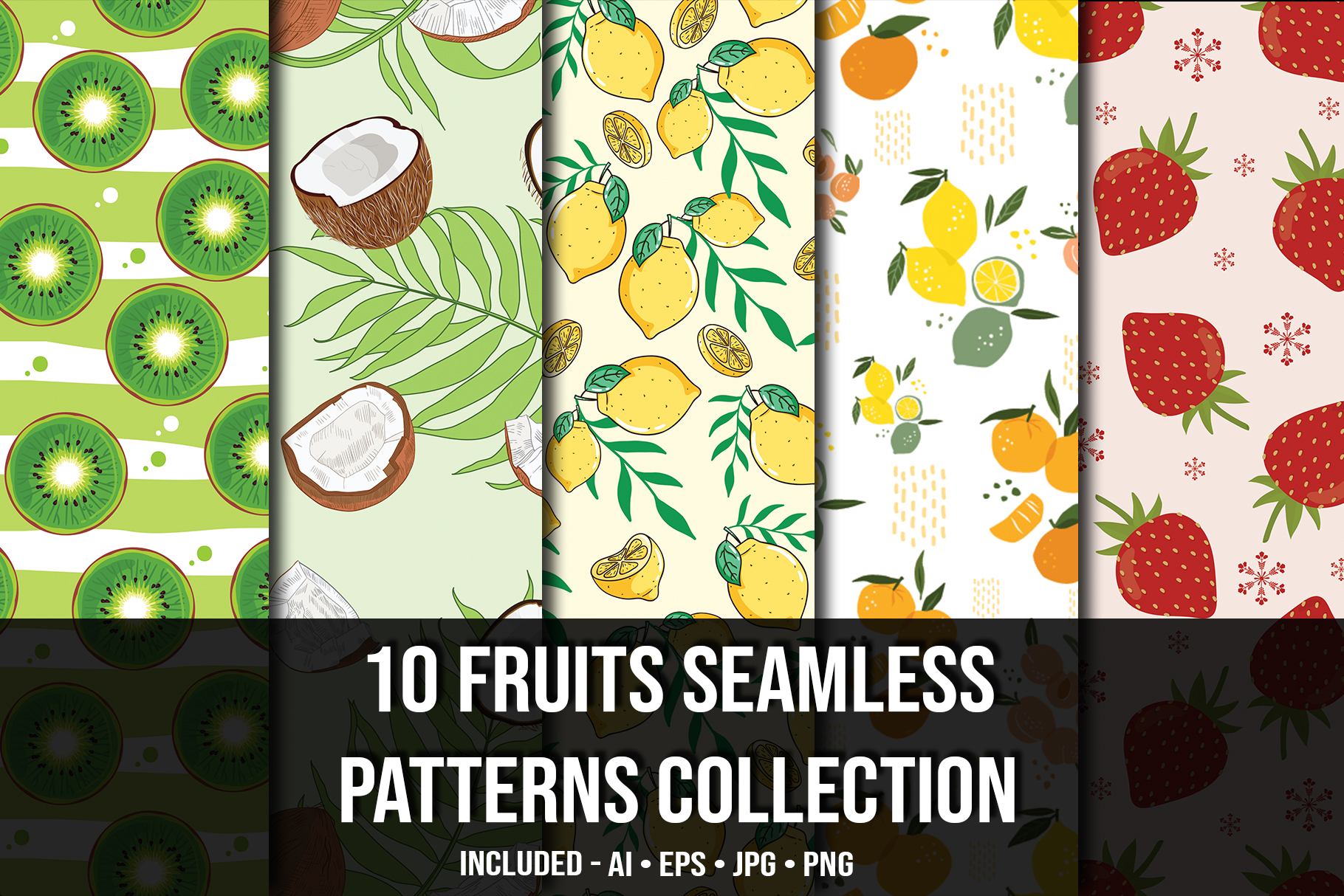 Fruits seamless collection.