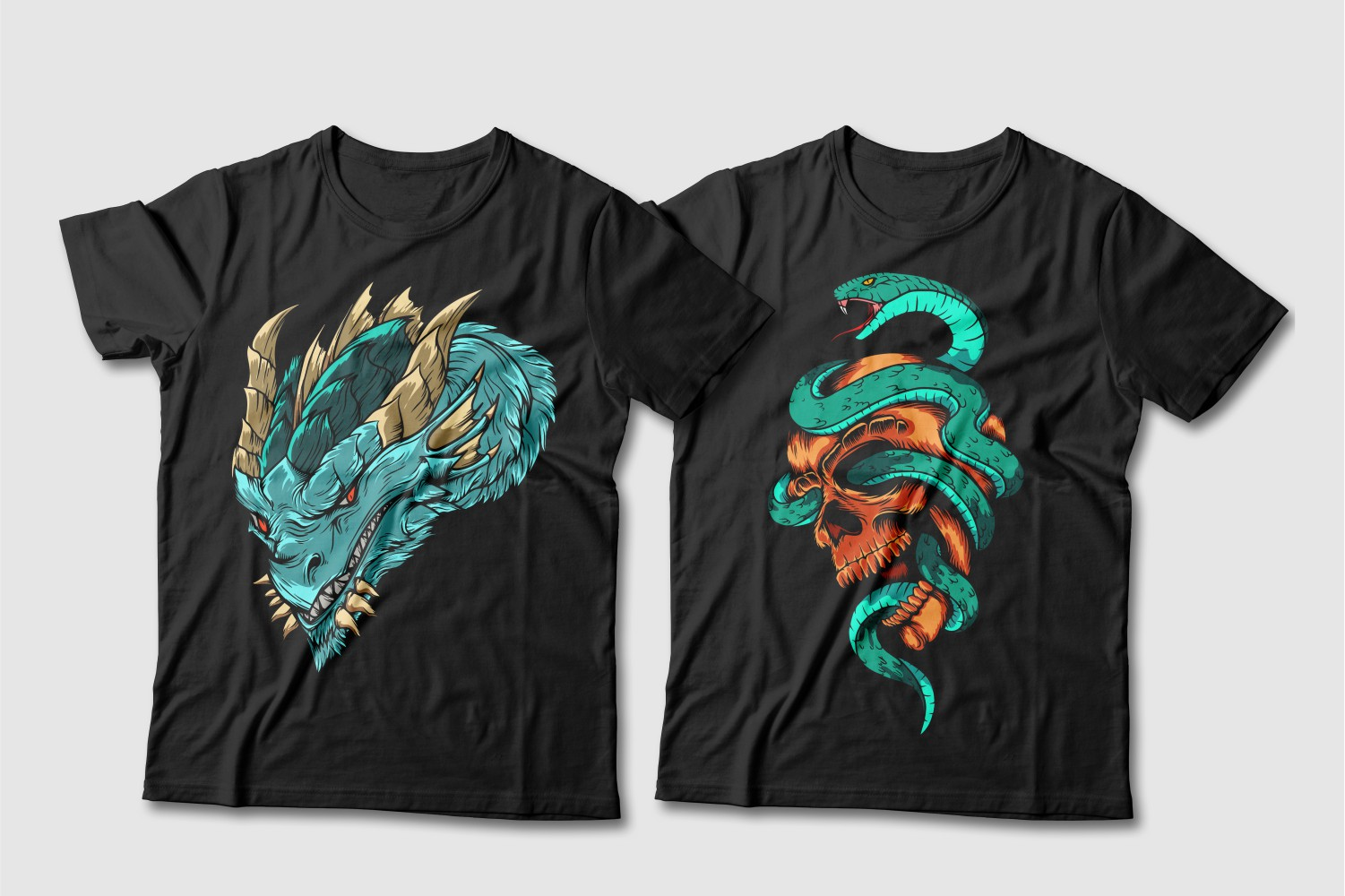Black T-shirts featuring a sky dragon design with beige horns and a turquoise cobra around a brown skull.