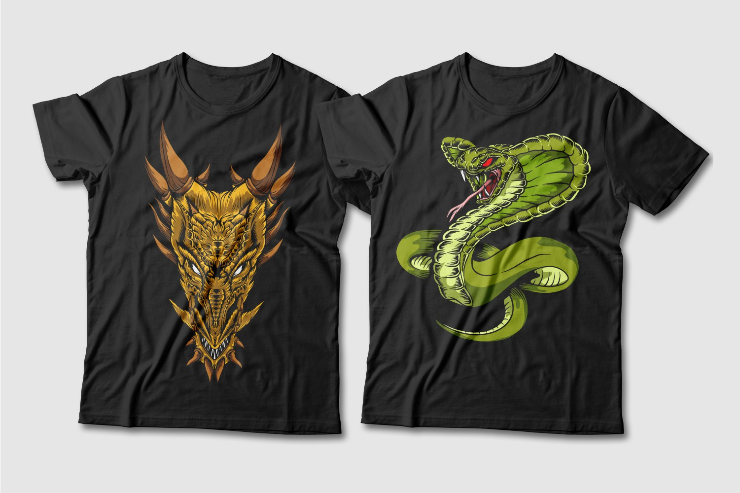 Black T-shirts featuring a terracotta dragon and a green cobra with red eyes.