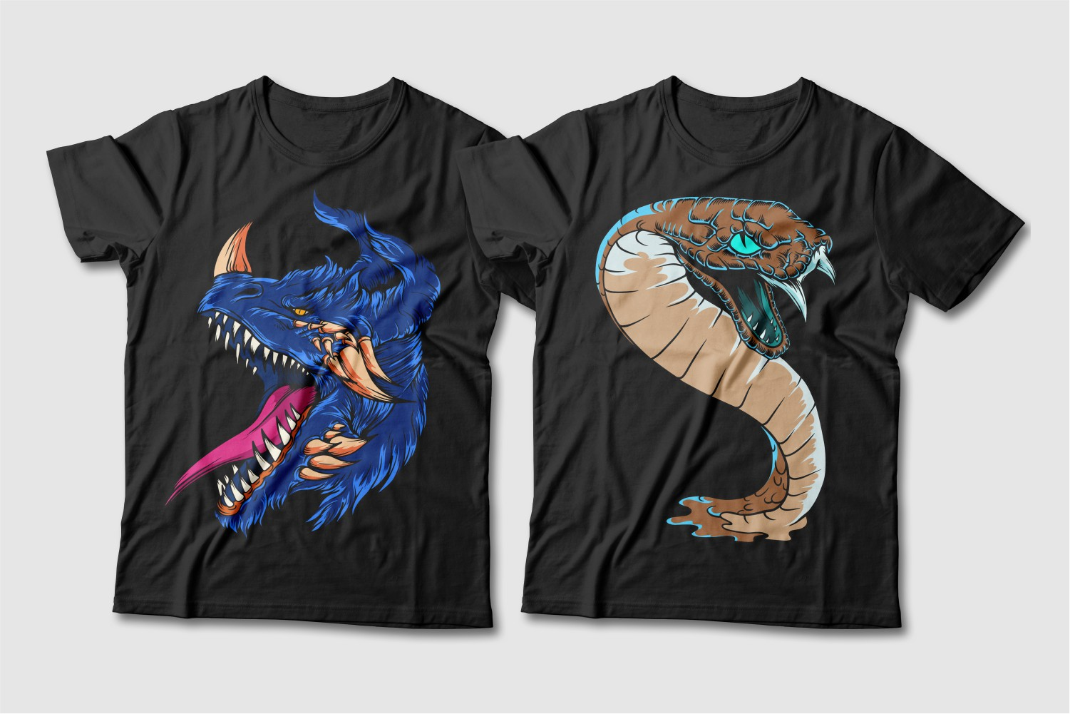 Black crew-neck tees featuring a blue dragon with a crimson tongue and a beige snake with a turquoise hue.
