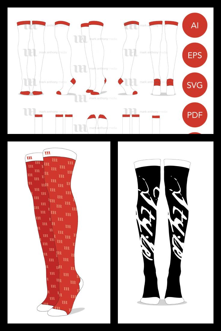 Thigh High Socks Vector Template Mockup | Knee High Socks Mockup. Collage Image.