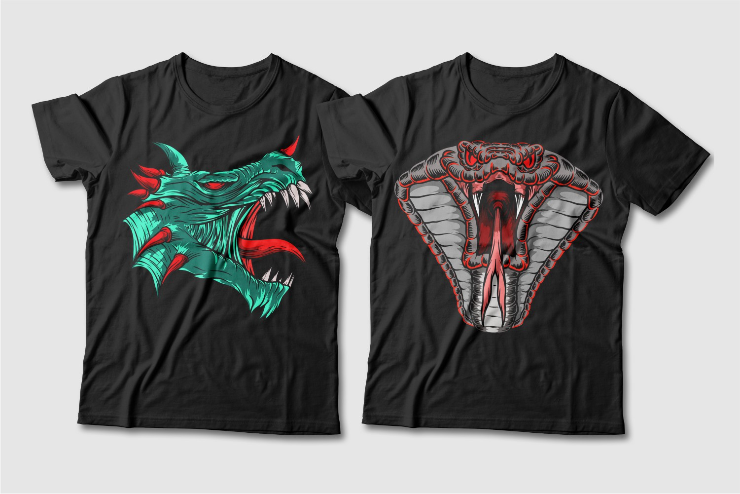 Black T-shirts featuring a green dragon with red horns and a gray snake in full face.