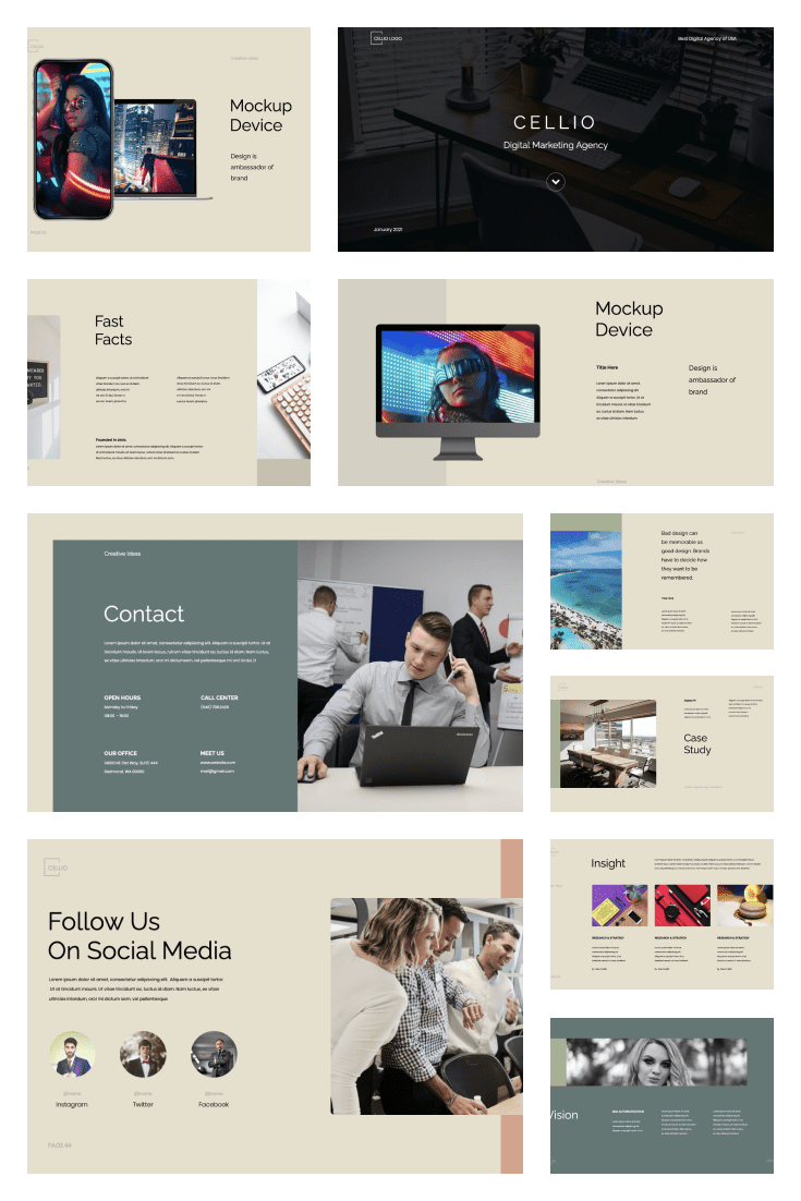 CELLIO Digital Marketing Presentation Template. Collage Image.