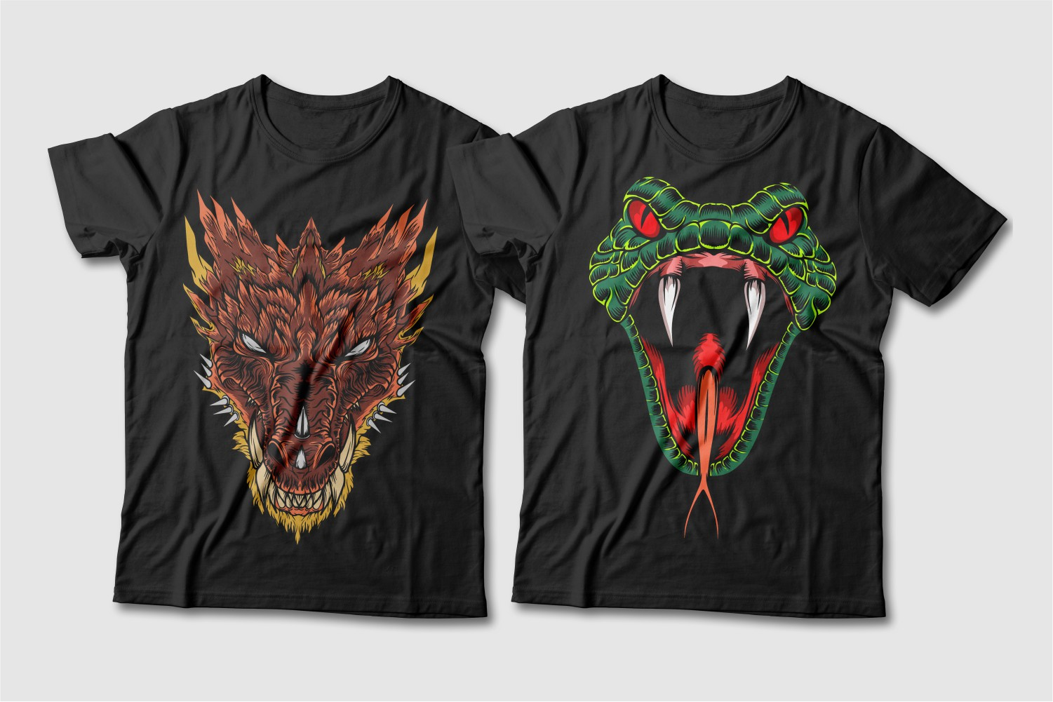 Black T-shirts with a crew neck and a brown dragon with a yellow tint and a green snake with red eyes and tongue.