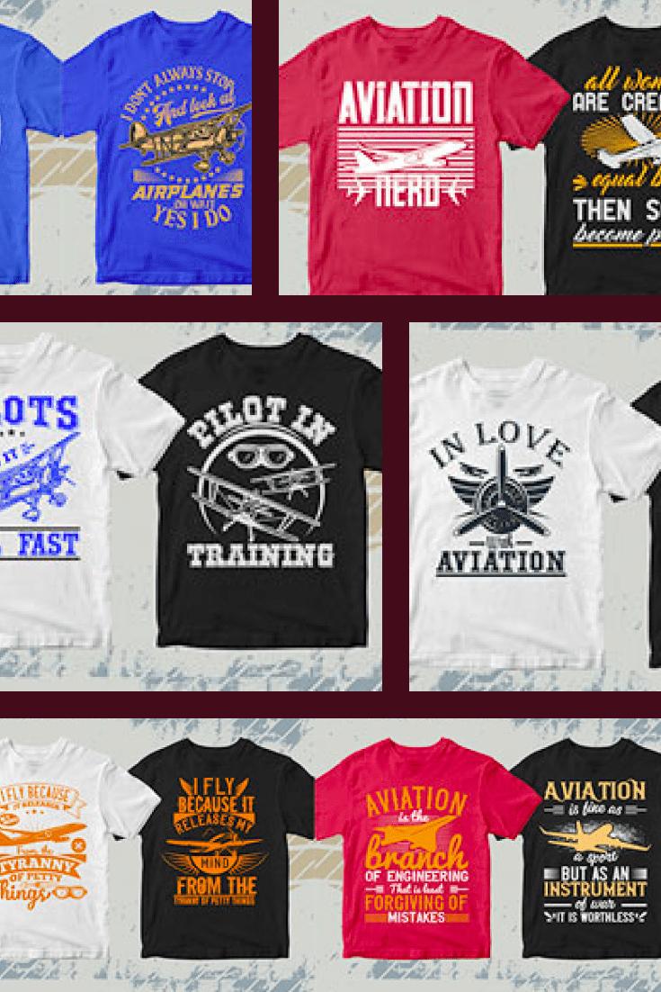 50 Editable Aviation T-Shirt Designs Bundle Ai, EPS, DXF, PNG, SVG. Collage Image.