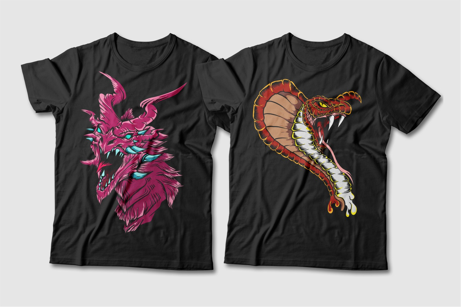 Black T-shirts featuring a pink dragon with turquoise horns and a brown cobra.