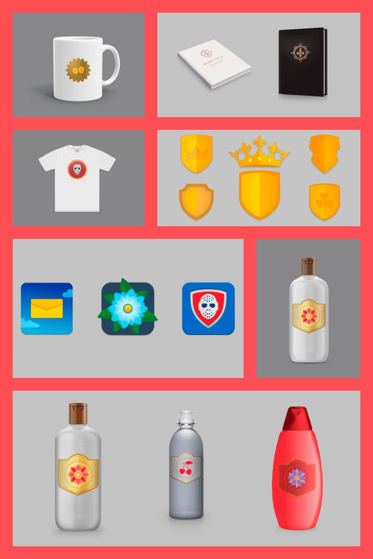 Premium Graphics for Design of Logotype. Collage Image.