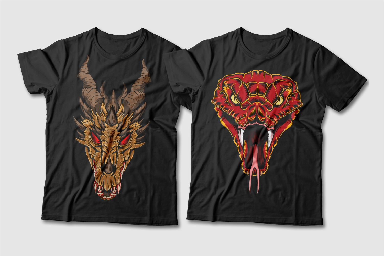 Black T-shirts with a crew neck and a brown horned dragon with red eyes and a red cobra with a big tongue.