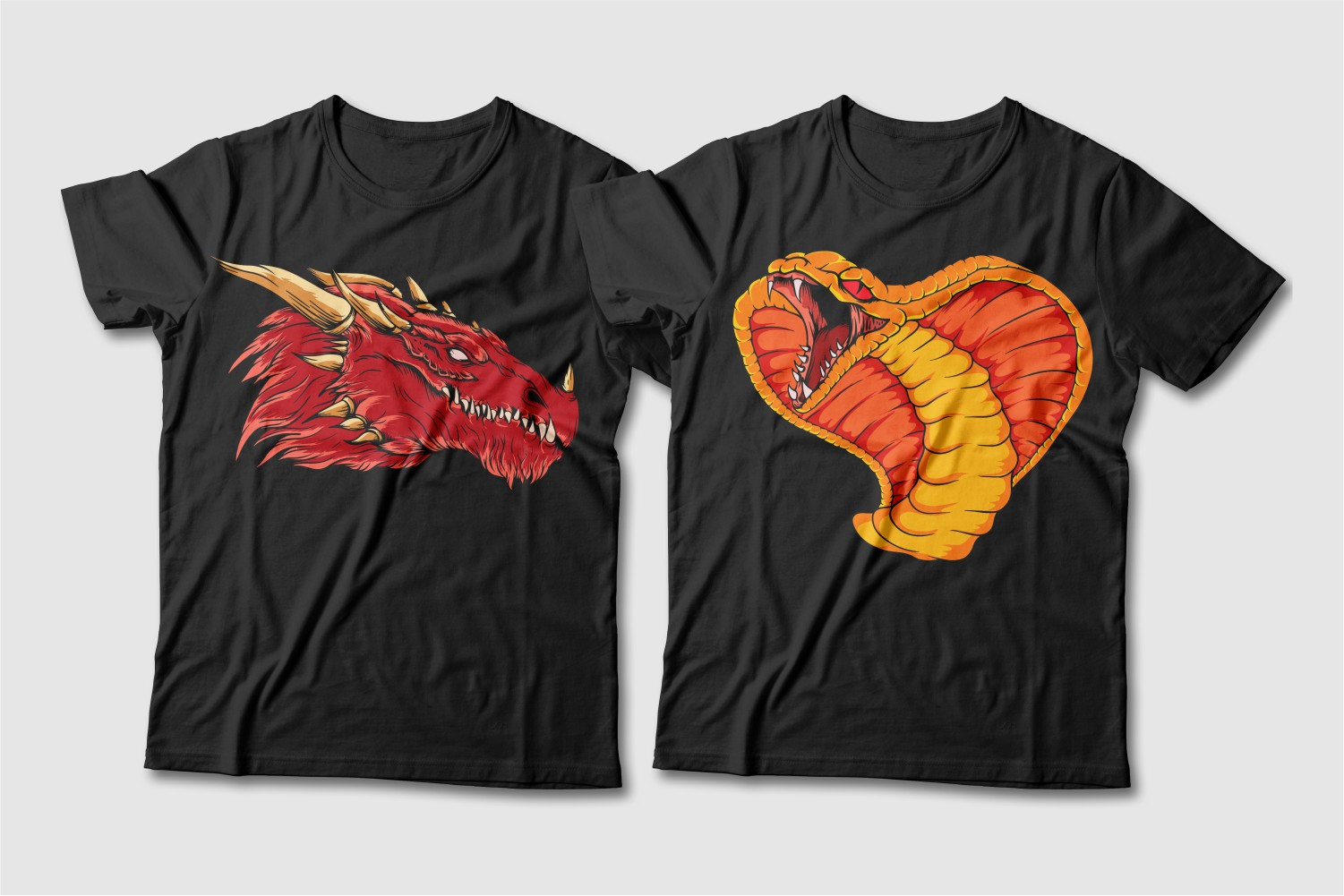 Black T-shirts featuring a red horned dragon and an orange cobra.