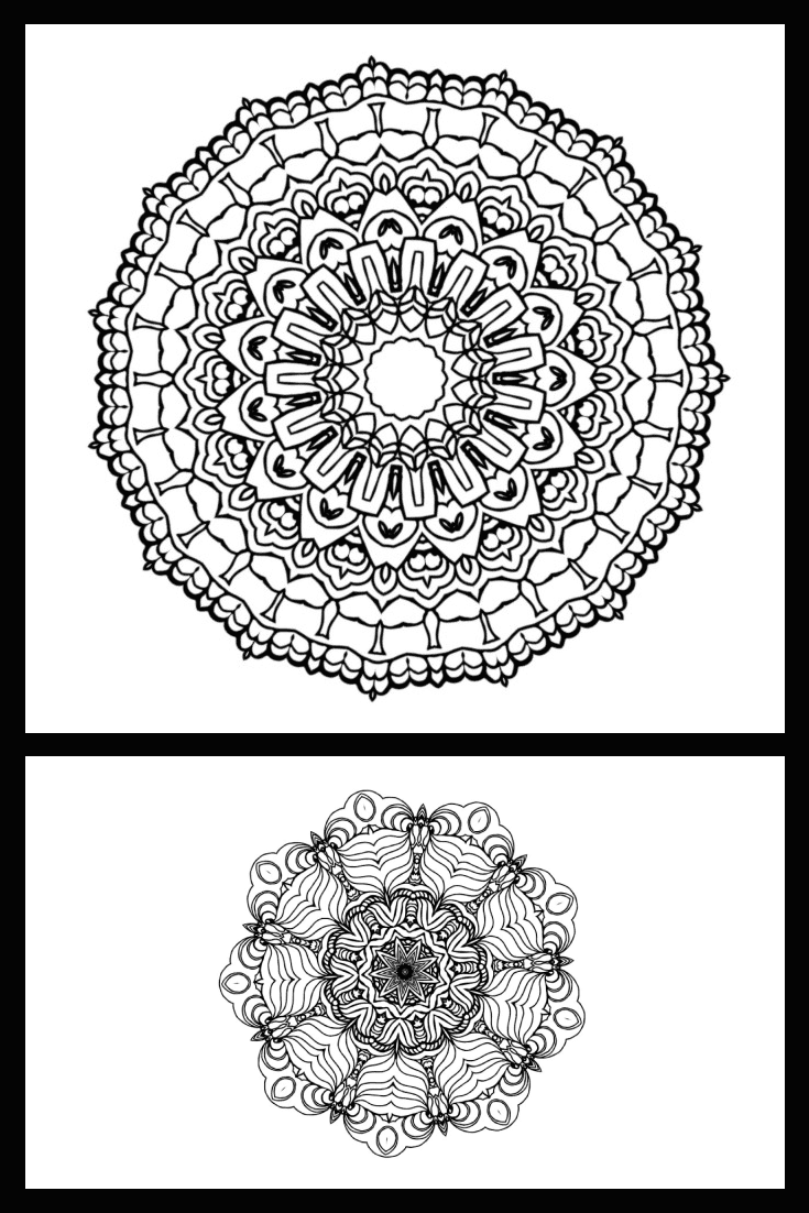 60 Coloring Mandalas: Mandalas for Kids. Collage Image.