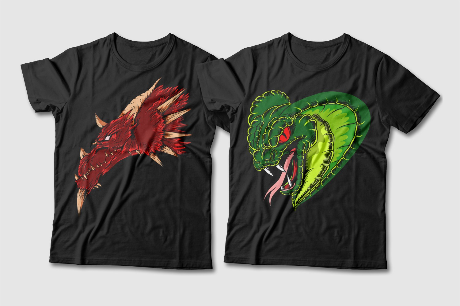 Black T-shirts with a round neck and the image of a brown long-faced dragon and a green cobra with red eyes.