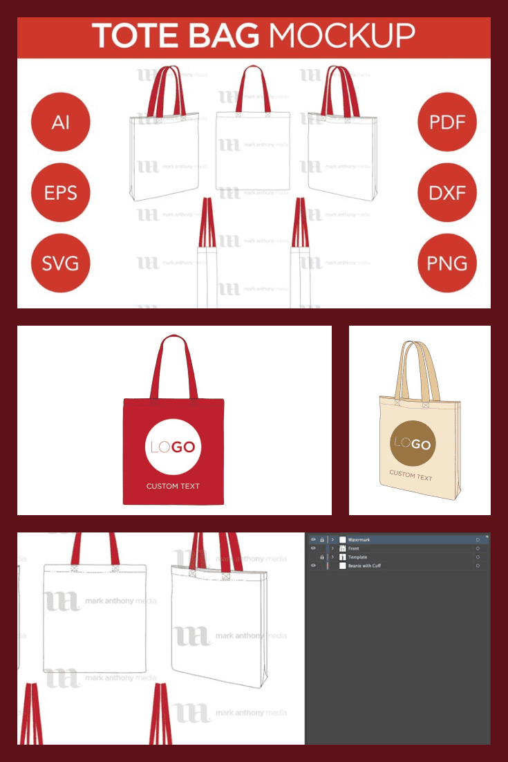 Tote Bag Mockup Vector Template. Collage Image.