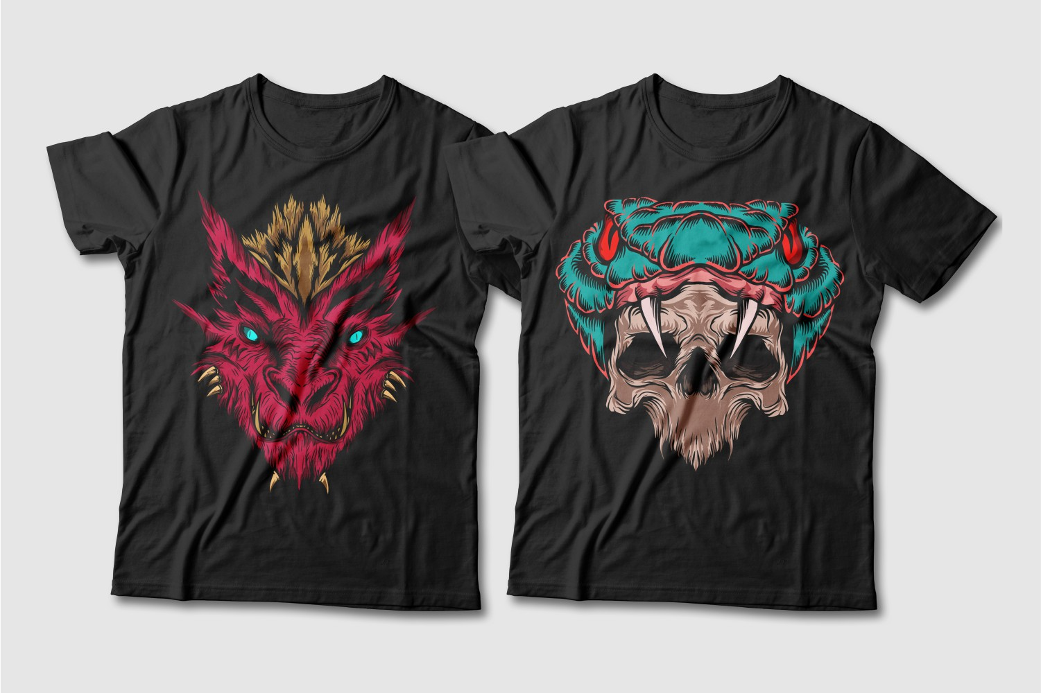 Black T-shirts with a crew neck featuring a crimson dragon with a brown tuft and a turquoise cobra with red eyes and a skull in a papa.