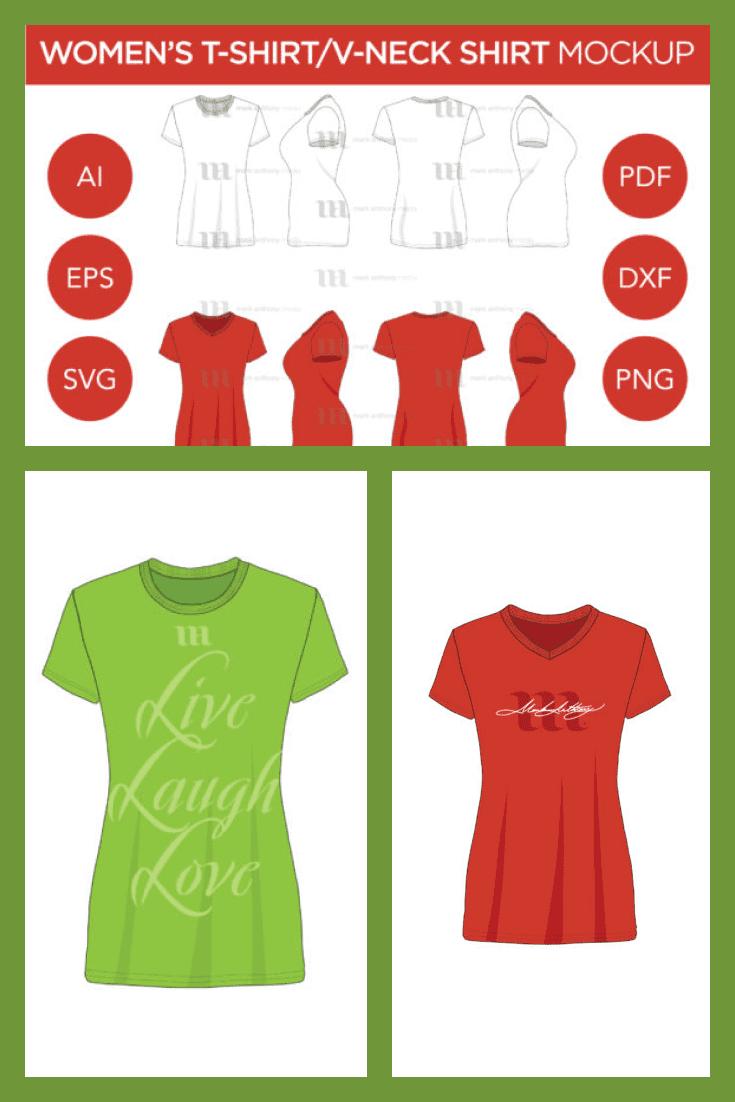 Women's T-shirt Mockup  : Women's T-Shirt and V-Neck Shirts. Collage Image.