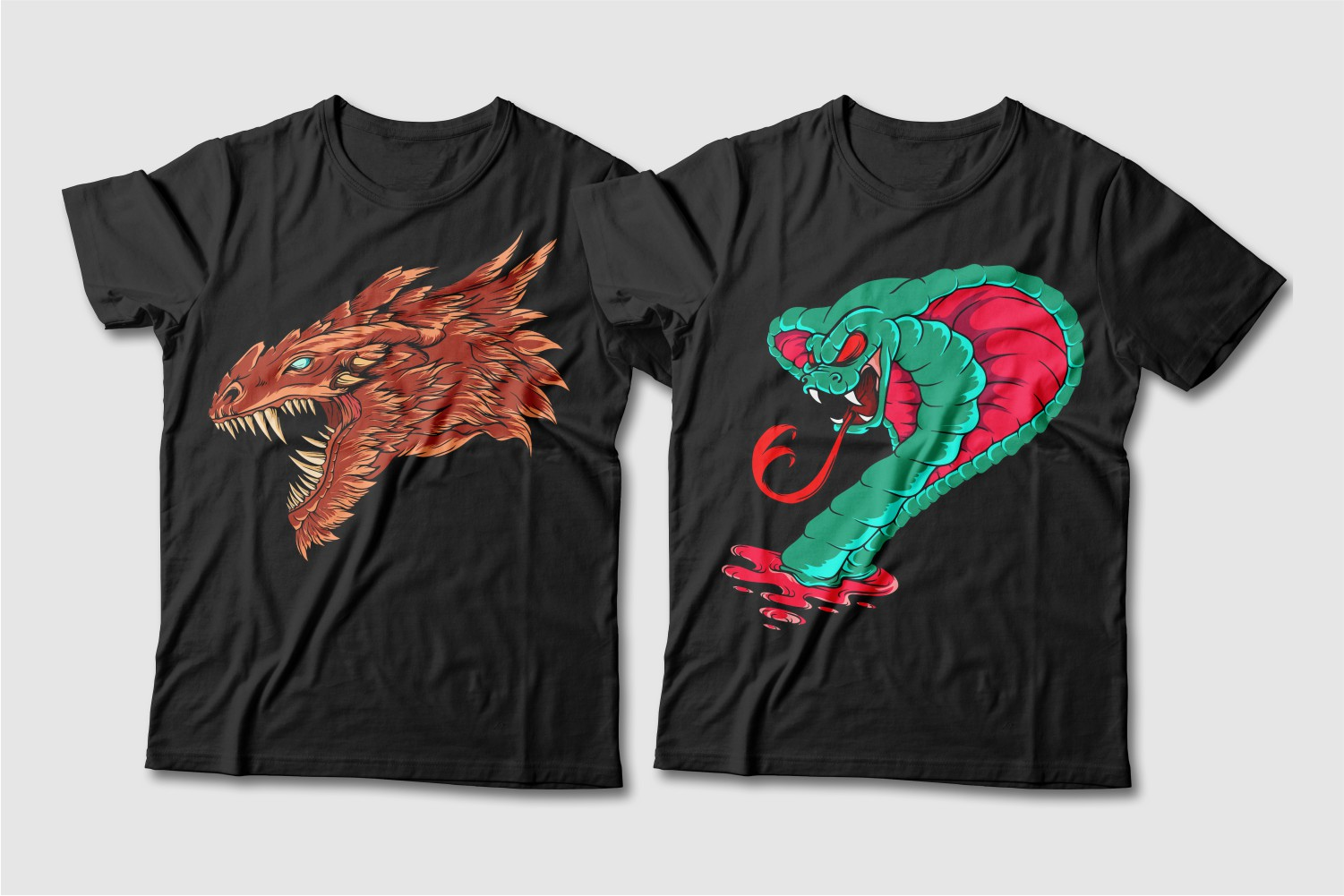 Black T-shirts featuring a brown dragon with green eyes and a green cobra.