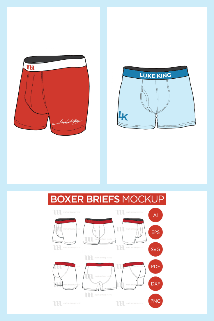 Photoshop Boxer Briefs Mockup: 6 Vector Templates. Collage Image.