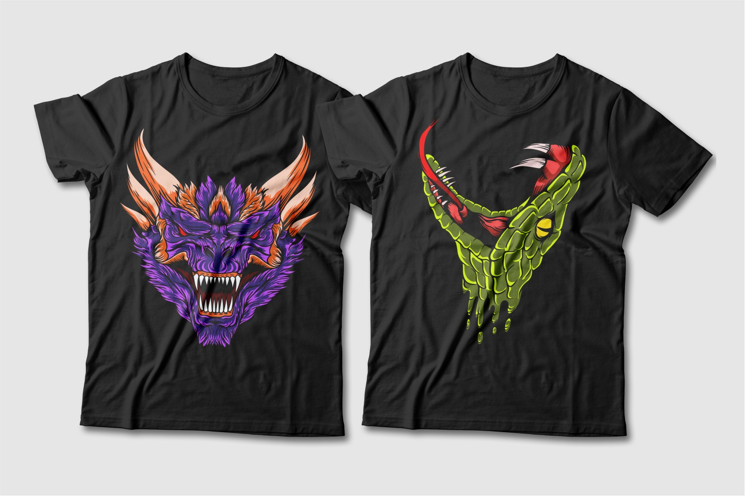 Black crew-neck tees featuring a purple horned dragon and a green snake.