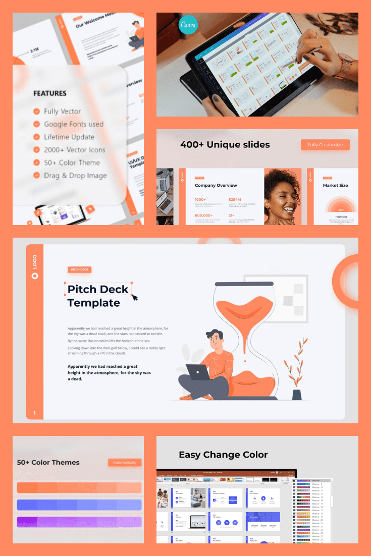 Pitch Deck & Presentation Animated Smooth Template. Collage Image.