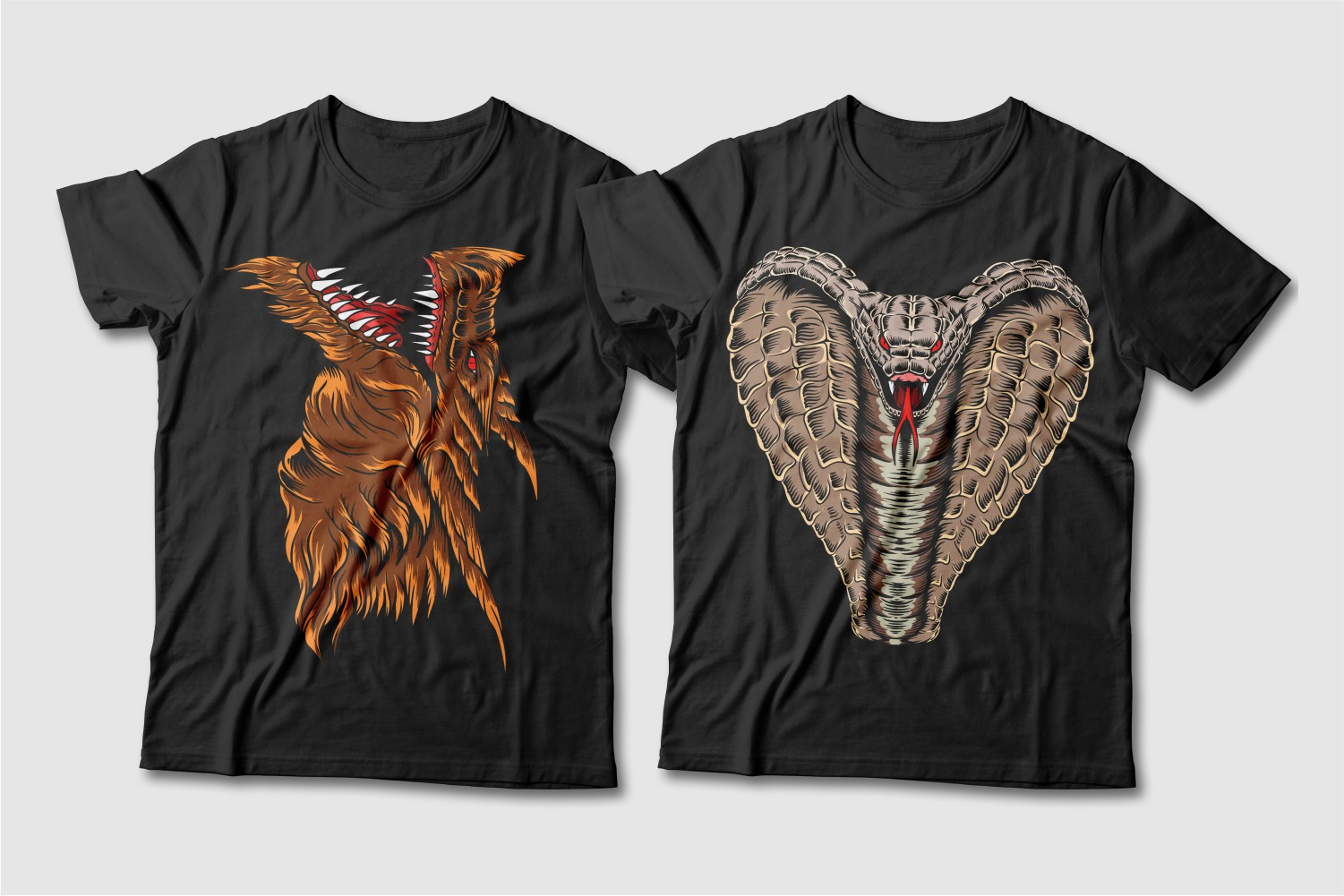 Black T-shirts featuring a brown dragon and a beige cobra.