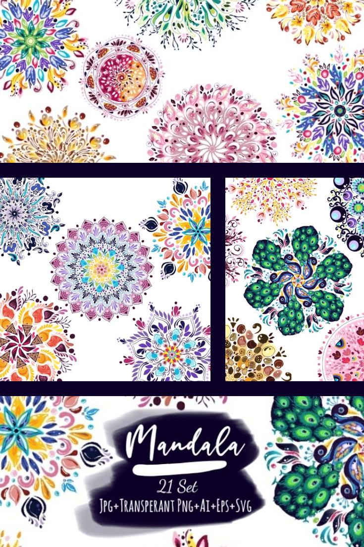 21 Mandala Designs Collection: Mandala SVG, Ai, Eps, JPG, PNG. Collage Image.