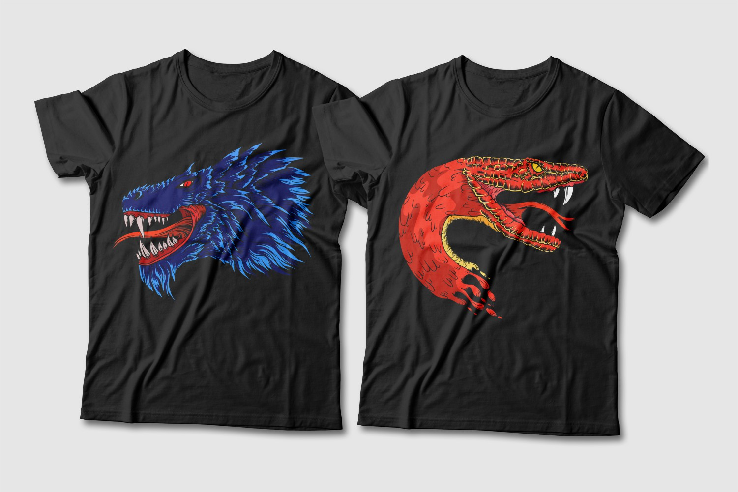 Black T-shirts featuring a dragon and a red serpent crew neck.