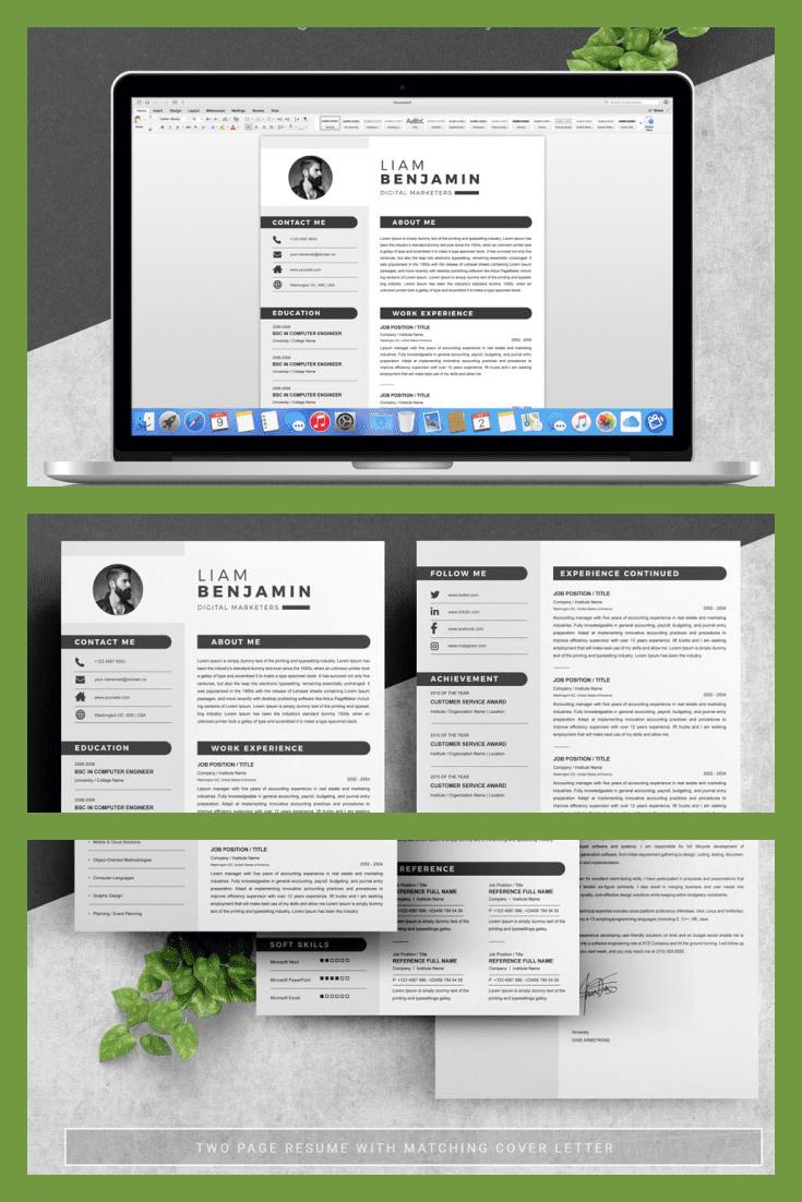 Minimalist Resume Template. Collage Image.