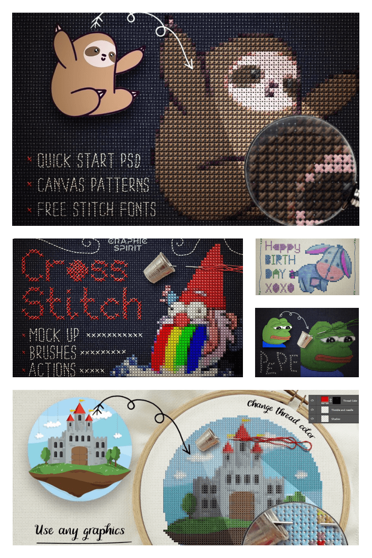 Cross Stitch Photoshop Action. Collage Image.