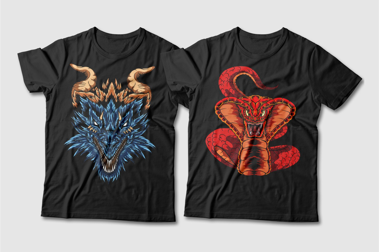Black T-shirts with a crew neck and a blue dragon with brown horns and eyes and a red cobra.