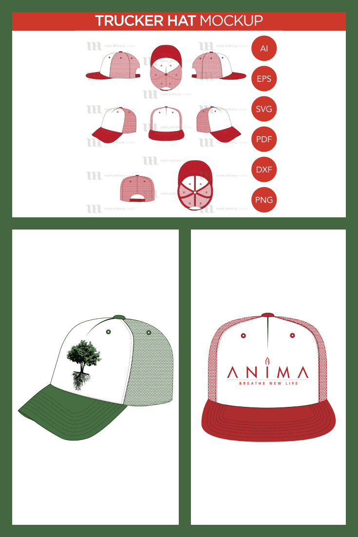 Trucker Hat Mockup Vector Template Mockup. Collage Image.