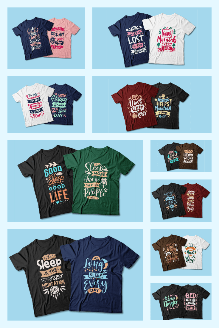 Sleep Lovers T-shirt Designs Bundle. Collage Image.